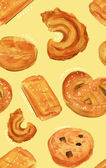 Watercolour Danish butter cookies seamless background pattern — Stock Photo