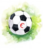 A drawing of a football (soccer) ball with a euro sign — Stock Photo