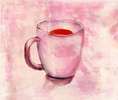 A watercolour drawing of a tea cup with a distressed background texture — Stock Photo
