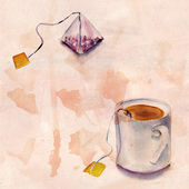 A tea bag and a tea cup on tea-stained distressed background — Stock Photo
