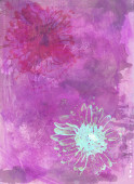 Watercolour textured greeting card with flowers — Stock Photo