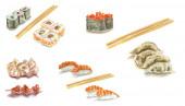 Watercolour sushi set on white background — Stock Photo