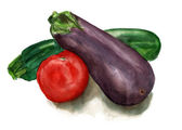 Still life on white background: eggplant, zucchini and tomato — Stock Photo