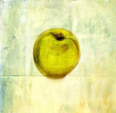 A drawing of an apple on a distressed background — Stock Photo