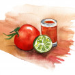 ������, ������: A tomato a shot of tomato juice and a lime half on white background