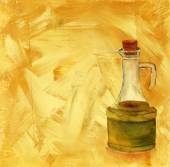A watercolour drawing of a bottle of olive oil on an artistic acrylic background — Stock Photo
