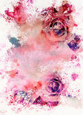 Watercolour toned roses greeting card — Foto Stock
