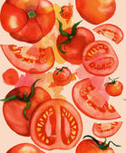 Seamless watercolor tomatoes background, toned — Stock Photo