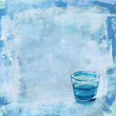 A glass of water on a distressed blue acrylic background — Stock Photo