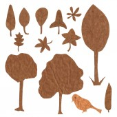 A set of ecologically themed isolated design elements cut out of brown kraft paper — Stock Photo