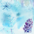 Watercolor hyacinth greeting card, blue toned — Stock Photo #70289763