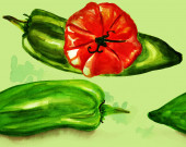Watercolour seamless background pattern of green peppers and a red tomato — Stock Photo