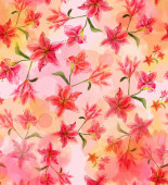 Watercolor lilies background — Stock Photo