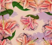 Retro-style watercolor lilies — Stock Photo