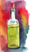 A watercolor bottle of white wine on a bright painterly background — Stock Photo