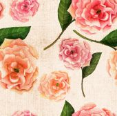 Vintage-styled watercolour rose on textured paper seamless background pattern, sepia-toned — Stock Photo