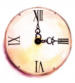 A watercolor drawing of a vintage clock on white background — Stock Photo