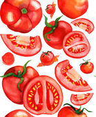 Seamless watercolor tomatoes background — Stock Photo