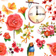 A retro styled seamless background pattern with vintage roses and other flowers, a finch, a clock and butterflies — Stock Photo #73698457