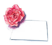 A drawing of a watercolor rose and a greeting card with a place for text on white background — Stock Photo