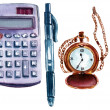 A set of watercolor business and finance objects on white background: a calculator, a pen, a chain watch, a pencil — Stock Photo #75563759
