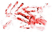 Empreintes de mains sanglantes sur papier blanc — Photo