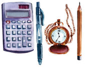 A set of watercolor business and finance objects on white background: a calculator, a pen, a chain watch, a pencil — Stock Photo