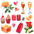 A set of vintage style watercolour drawings related to holidays and celebrations, on white background (roses, wine glasses, pink champagne bottle, candles, cupcakes, butterflies and hearts) — Stock Photo #78600104
