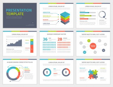 Set of Presentation Template. Infographic elements on slides.