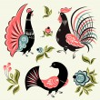 Set with decorative birds — Stock Vector #62721333