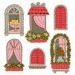 Illustrations with vintage windows — Stock Vector #62721371