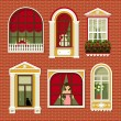 Illustrations with vintage windows — Stock Vector #62721437