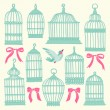 Set with vintage bird cages. — Stock Vector #62721729