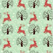 Seamless pattern with deer — Stock Vector