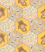 Teddy bears and bees pattern. — Stock Vector