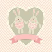 Pohlednice s králíčky — Stock vektor