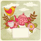 """Postcard """"Tea Party"""". — Stock Vector"""