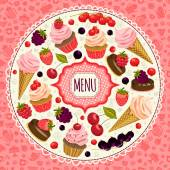 Menu  with desserts and berries. — Stock Vector