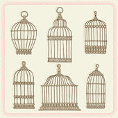 Set with vintage bird cages. — Stock Vector
