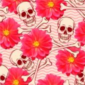 Pattern with skull and dahlia — Stock Vector