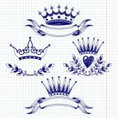 Banners and items with crowns — Stock Vector