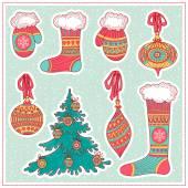 Christmas Decor. Set. — Stock Vector
