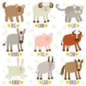 Set of illustrations with animals — Stock Vector