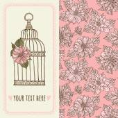 Birdcage and dahlias pattern — Vecteur