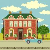 Old house, car and trees — Stock Vector