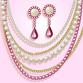Collana, perle e orecchini — Vettoriale Stock