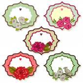 Vintage frames avec fleurs — Vecteur