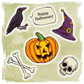 Happy halloween stickers — Stock Vector