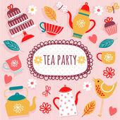 "Invitation to ""tea party."" — Stock Vector"