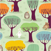 Pattern with  trees and animals. — Stock Vector